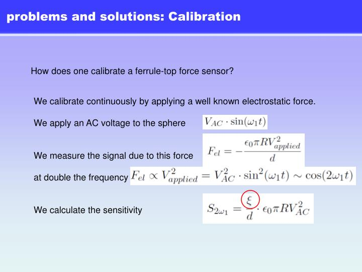 problems and solutions: Calibration