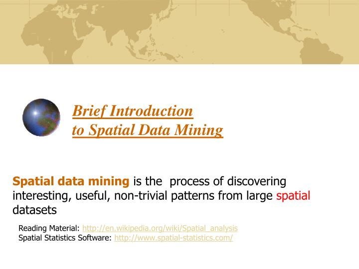 brief introduction to spatial data mining n.