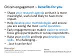 citizen engagement benefits for you
