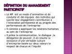 d finition du management participatif