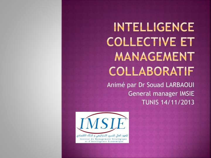 intelligence collective et management collaboratif n.