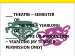 theatre semester or theatre yearlong or theatre uil production yearlong by teacher permission only