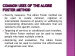 common uses of the alkire foster method