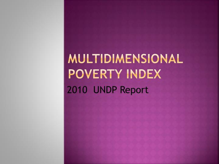 multidimensional poverty index n.