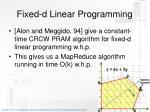 fixed d linear programming