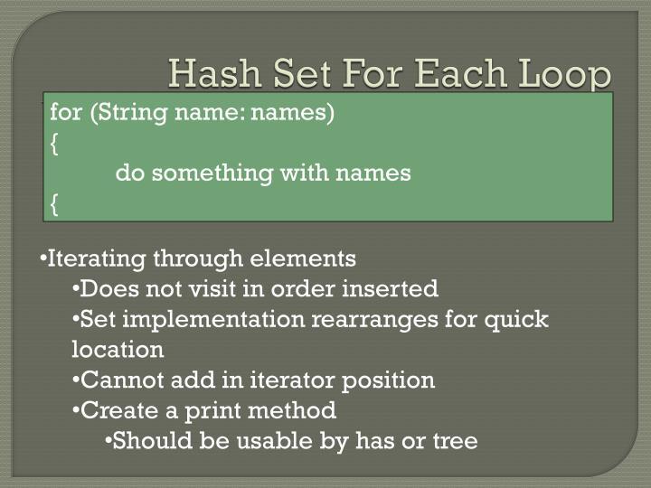 Hash Set For Each Loop