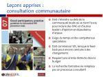 le ons apprises consultation communautaire
