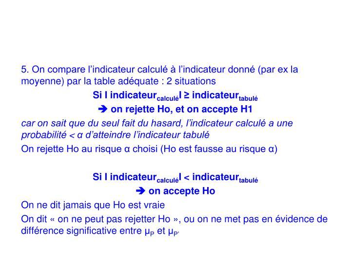 5. On compare l'indicateur calculé à l'indicateur donné (par ex la moyenne) par la table adéquate : 2 situations