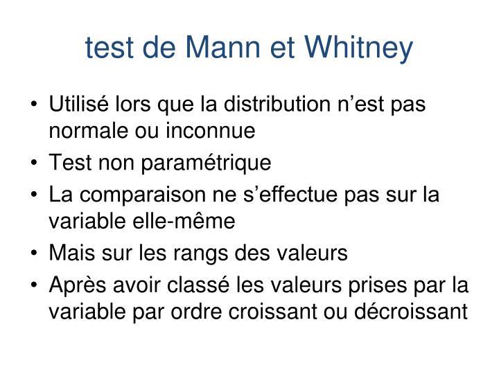 test de Mann et Whitney