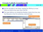 create labels continued4