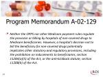program memorandum a 02 1291