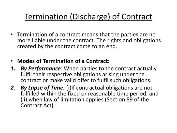 termination discharge of contract n.
