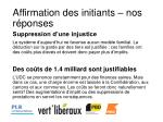 affirmation des initiants nos r ponses