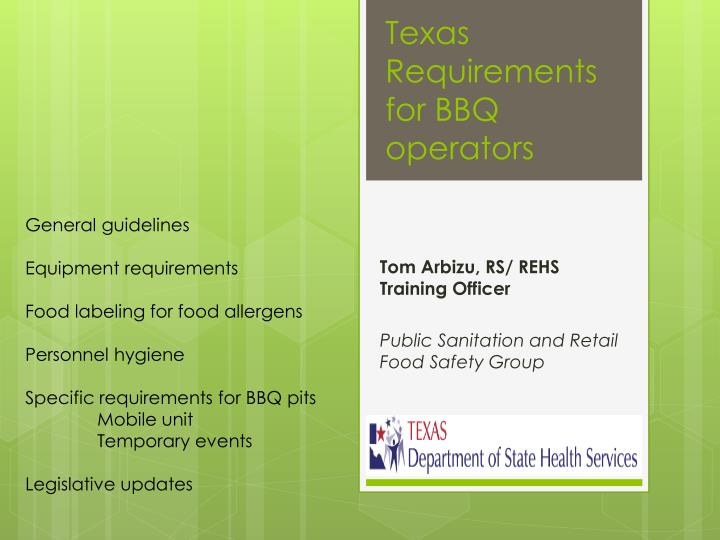 texas requirements for bbq operators n.