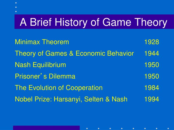 A Brief History of Game Theory