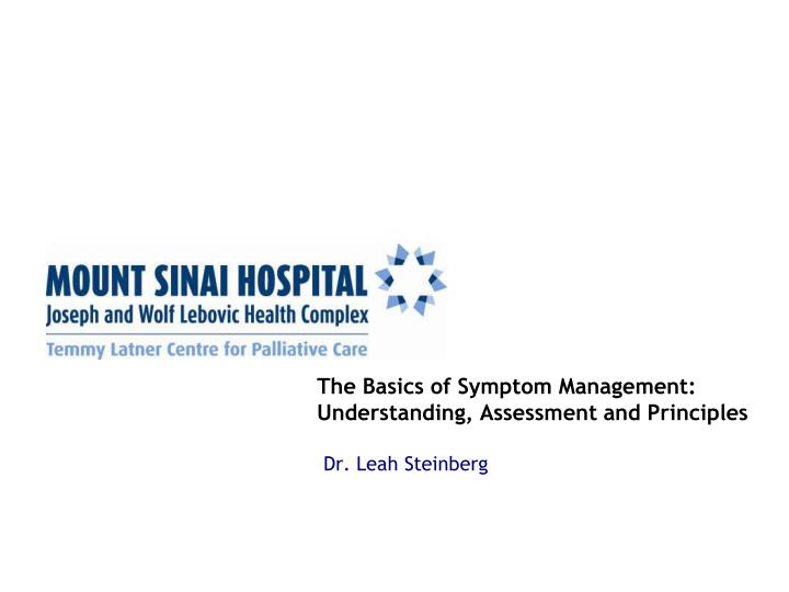 the basics of symptom management understanding assessment and principles n.