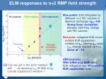elm responses to n 2 rmp field strength