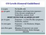 co levels general guidelines