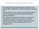 statistical test for ramsey pricing