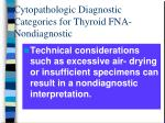 cytopathologic diagnostic categories for thyroid fna nondiagnostic