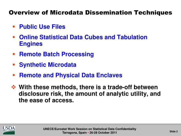 Overview of microdata dissemination techniques