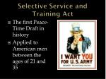 selective service and training act