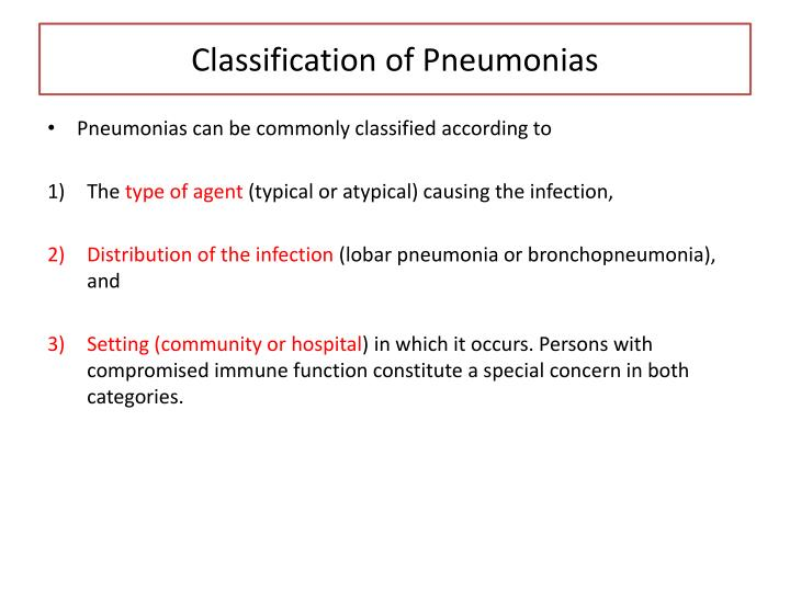 Classification of Pneumonias