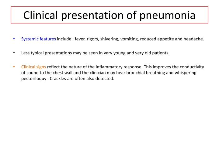 Clinical presentation of pneumonia
