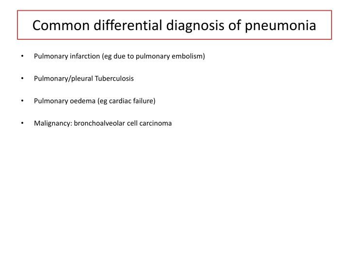 Common differential diagnosis of pneumonia