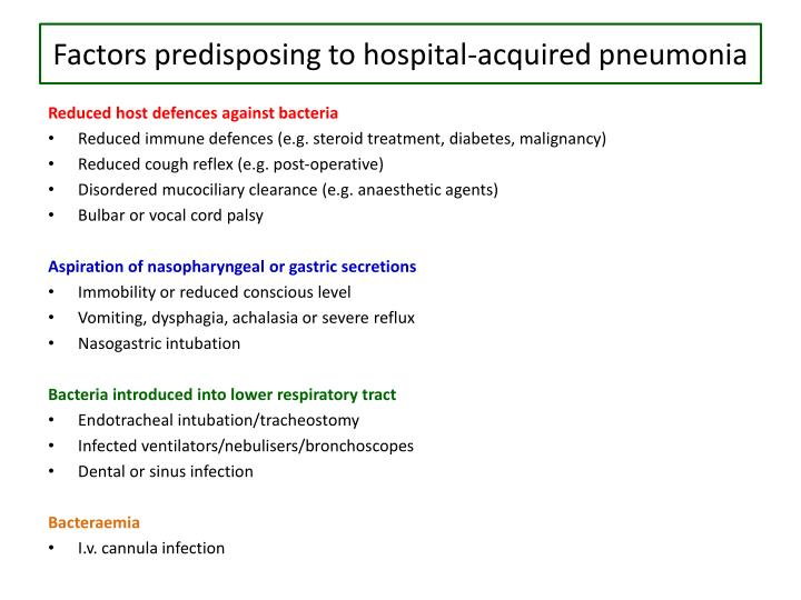 Factors predisposing to hospital-acquired pneumonia