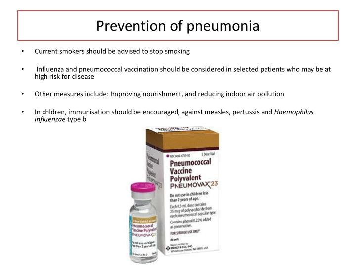 Prevention of pneumonia