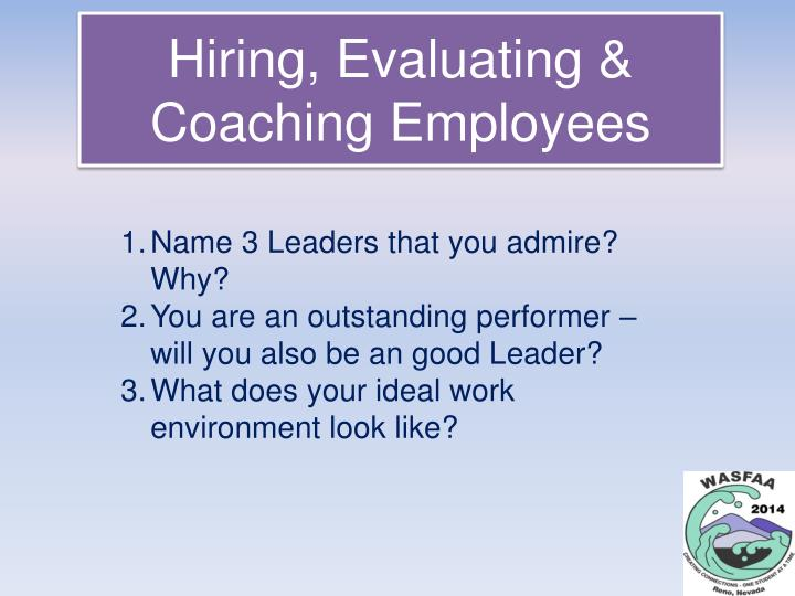 hiring evaluating coaching employees n.