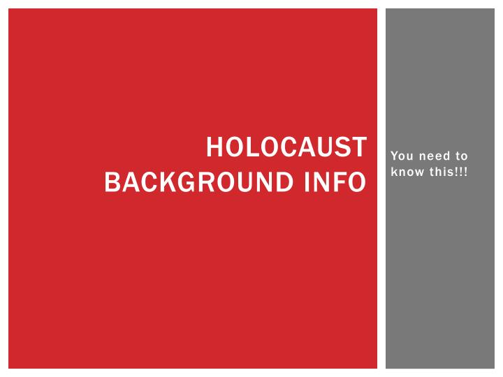 holocaust background info n.
