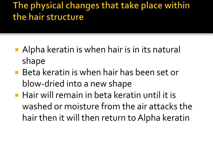 the physical changes that take place within the hair structure n.