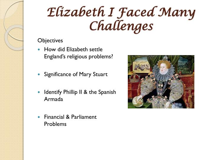 Elizabeth i faced many challenges