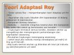 teori adaptasi roy