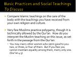 basic practices and social teachings to discuss