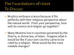 the foundations of islam to discuss1