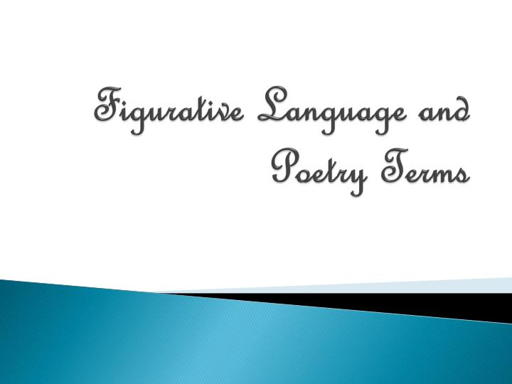 figurative language and poetry terms n.