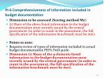 pi 6 comprehensiveness of information included in budget documentation