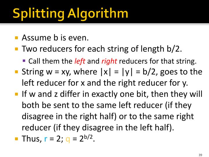 Splitting Algorithm