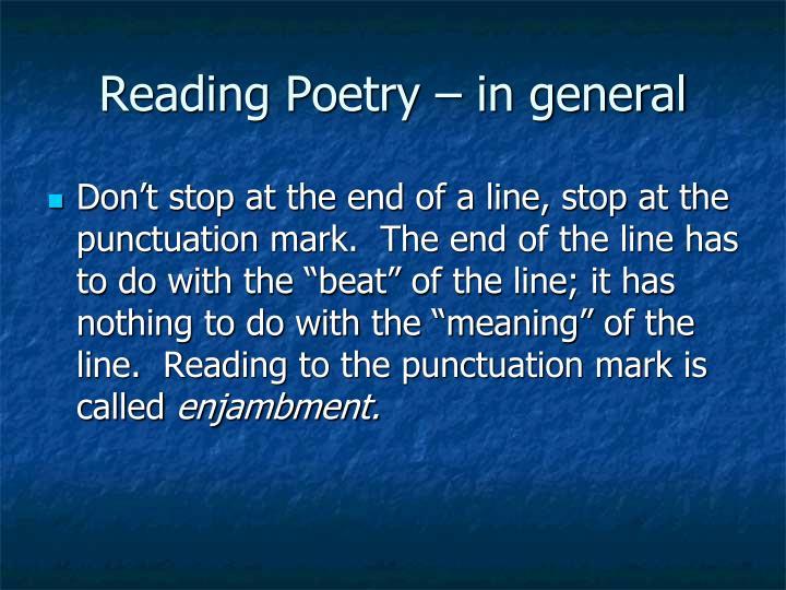Reading Poetry – in general