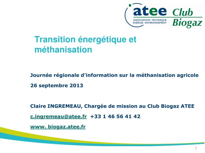 transition nerg tique et m thanisation n.