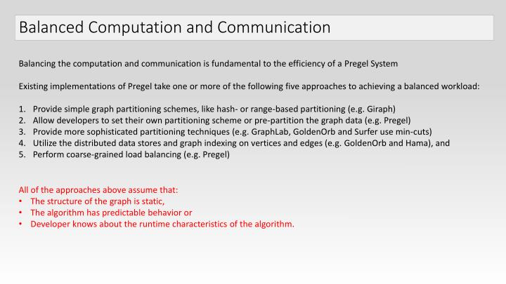 Balanced Computation and Communication
