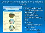 controversy over logging in u s national forests