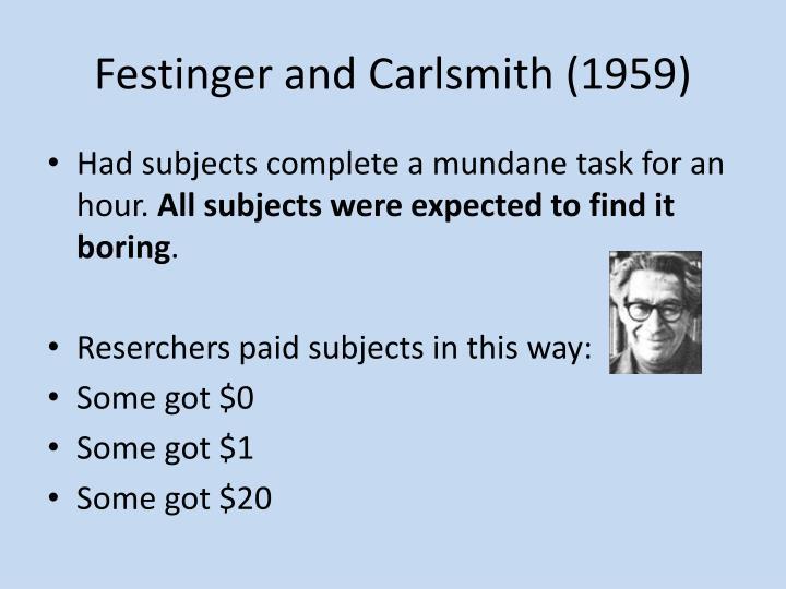 Festinger and Carlsmith (1959)