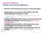learning and memory verbal learning and memory