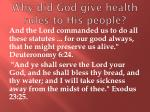 why did god give health rules to his people
