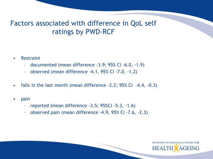 Factors associated with difference in QoL self ratings by PWD-RCF