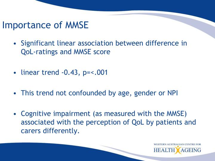 Importance of MMSE